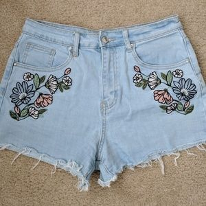 F21 Floral Print Denim Shorts